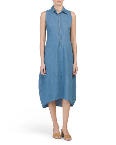 Hi-lo Shirt Dress Denim Dress