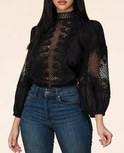 Load image into Gallery viewer, Black Women Blouse Crochet Pattern Woven top