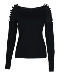 Cut Out Long Sleeve Casual T-shirt