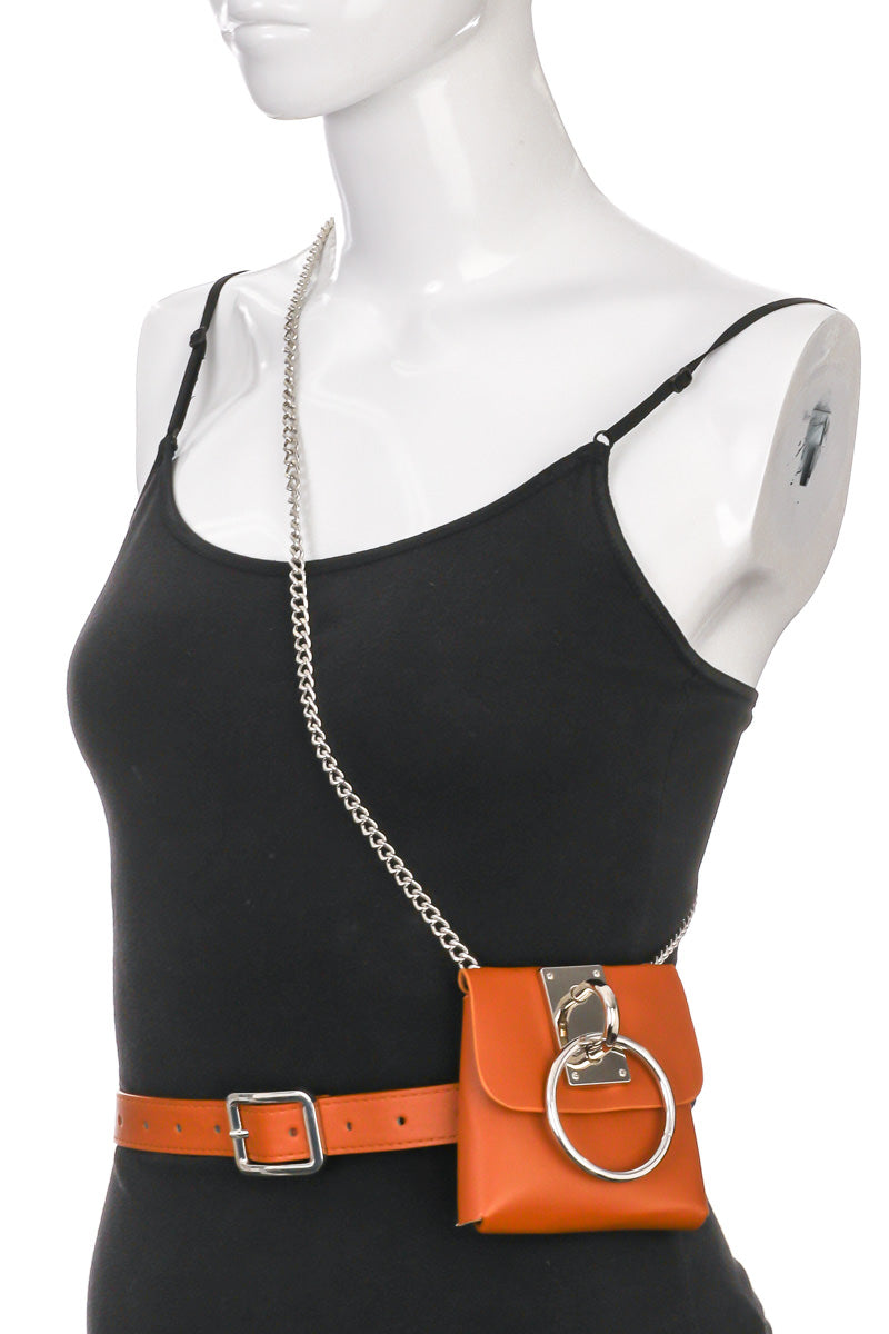 Faux Leather Chain Square Fashion Belt Bag