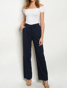 Navy Cotton Pants High fitted waist wide leg pants