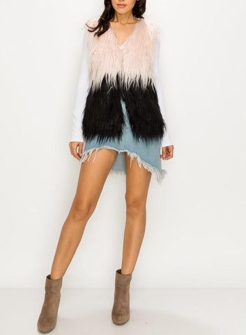 Two tone pink and black faux fur vest