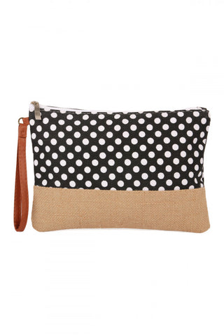 BLACK POLKA DOT COSMETIC POUCH