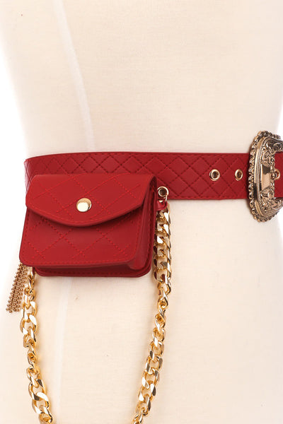 Quilted Belt With Side Pouch