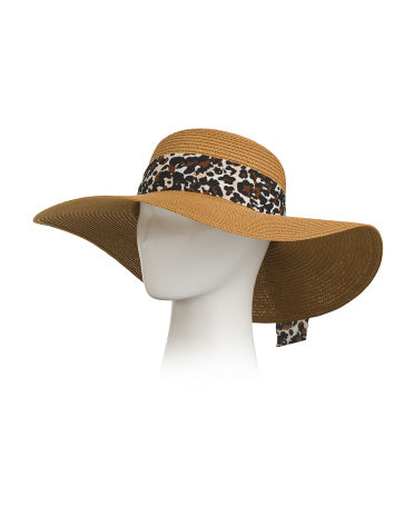 Straw floppy with animal print bow band