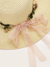 Load image into Gallery viewer, Hat Flower Decor Straw Hat Boho Hat