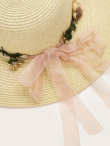 Hat Flower Decor Straw Hat Boho Hat
