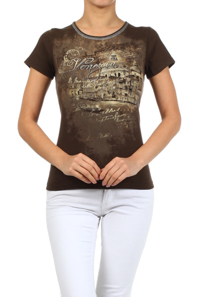 Solid knit tee with a rhinestone embellished, screen printed graphic on front bodice