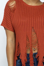 Load image into Gallery viewer, Distressed Sweater Top