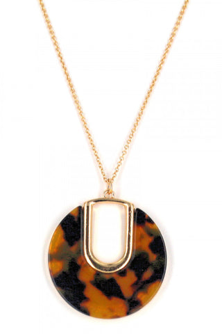 Resin Women Fashion Necklace. Tortoise Necklace Round Necklace.