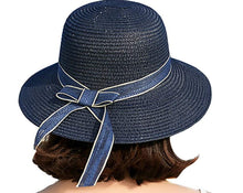 Load image into Gallery viewer, Bow Women Sun Protection Straw Hat, Wide Brim Beach