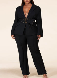 Blazer Pants Set Plus Size