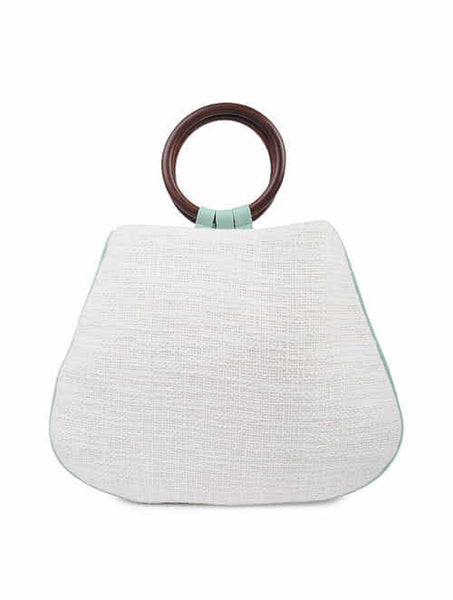 Cotton Clutch with Wooden Handle