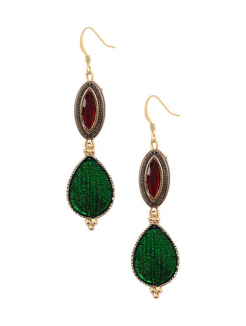 Handcrafted Green Enameled Earrings