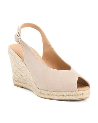 Sling Back Espadrilles Wedges Peep Toe