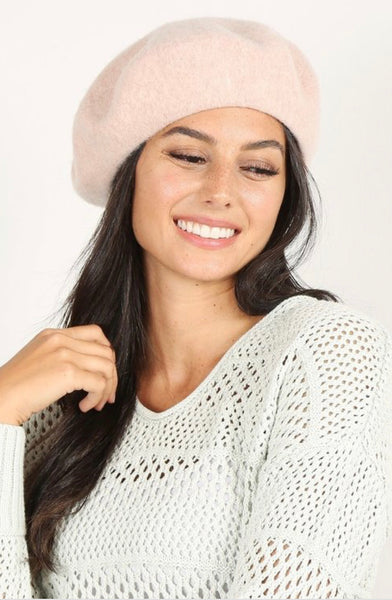 Women's Plain Color Wool Blend Beret Hat
