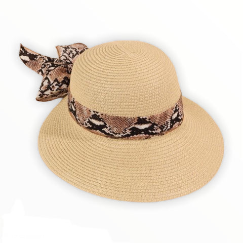 Straw sun hat with python print scarf edge