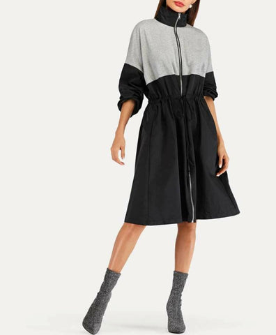 ColorBlock High Neck Drawstring Detail Coat