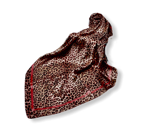 Leopard Print Fashion Square Scarf Satin