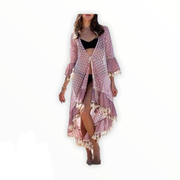 CIRCLE LACE GRADIENT TIE DYE  LONG CARDIGAN WITH TASSEL HEM DETAIL