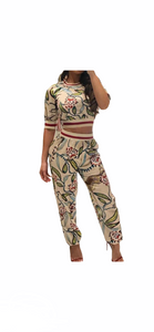 Half Sleeve Floral Print Set Round Neck lounger 2 pc