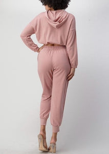 Comfortable long sleeve crop with sweats set