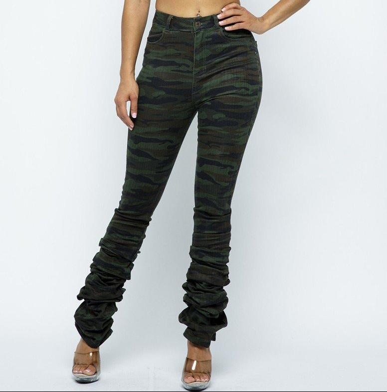 Camo Denim JEAN scrunch bottom pants