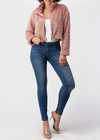 Crop Jacket Sweet and Soft Zip Up
