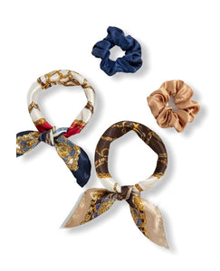 Chain Print Scrunchie Scarf set of 2