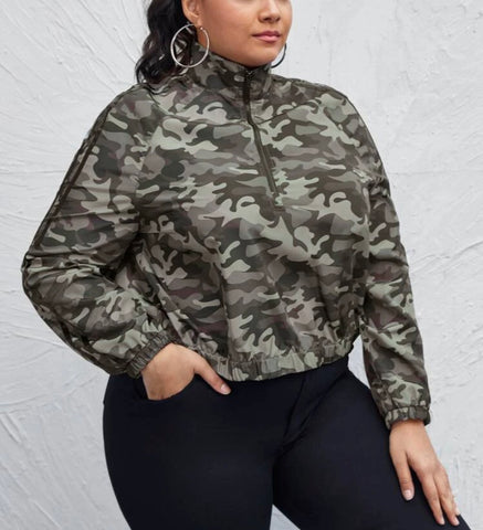 Crop Jacket Camo Print Windbreaker