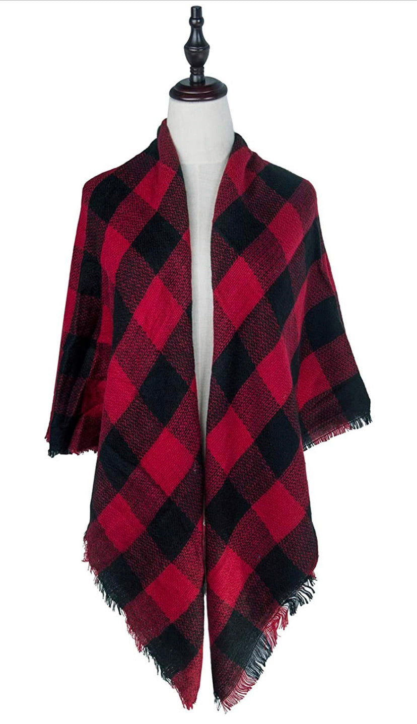 Plaid Blanket Scarf Winter Scarf for Women, Warm Soft Oversized
