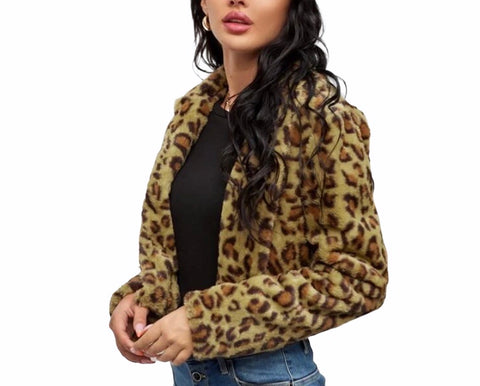 Leopard Pattern Faux Fur Coat