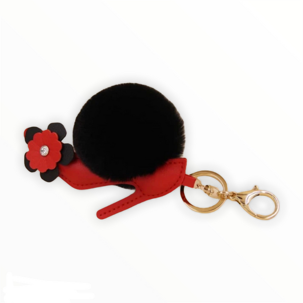 High Heel Fur Ball Red KeyChain