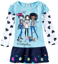Load image into Gallery viewer, Toddler Girl Cotton Flower Long Sleeve Dress Wave Point Cartoon