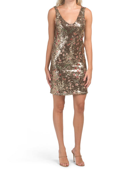 Floral Embroidered Sequin Cocktail Dress Occasion Dress