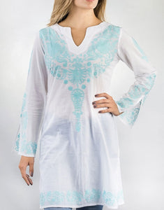 Embroidered Turquoise Tunic