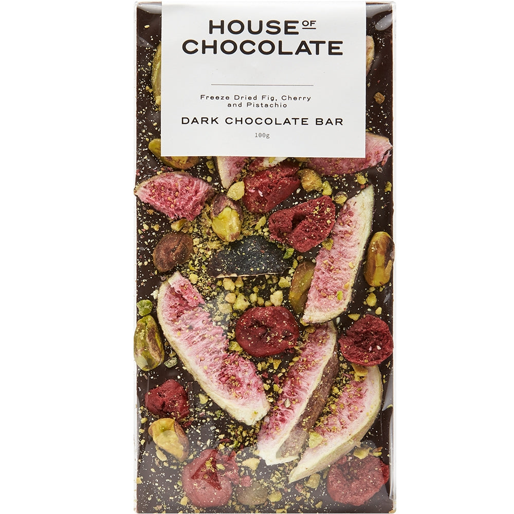 Fig, Cherry and Pistachio Dark Chocolate Bar