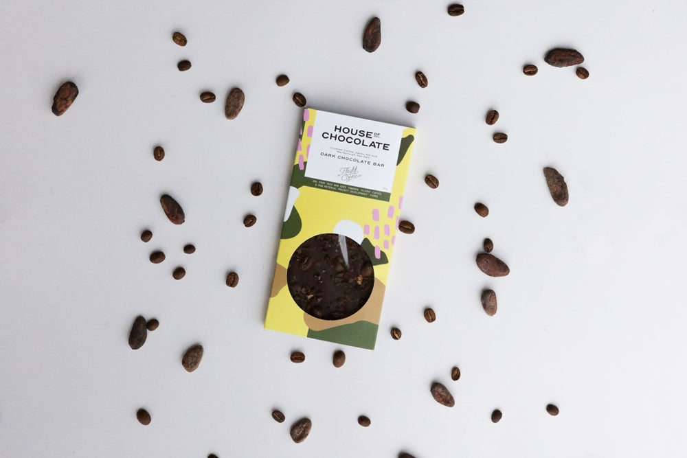 Crushed Coffee, Cacao Nibs & Sea Salt Dark Chocolate Bar