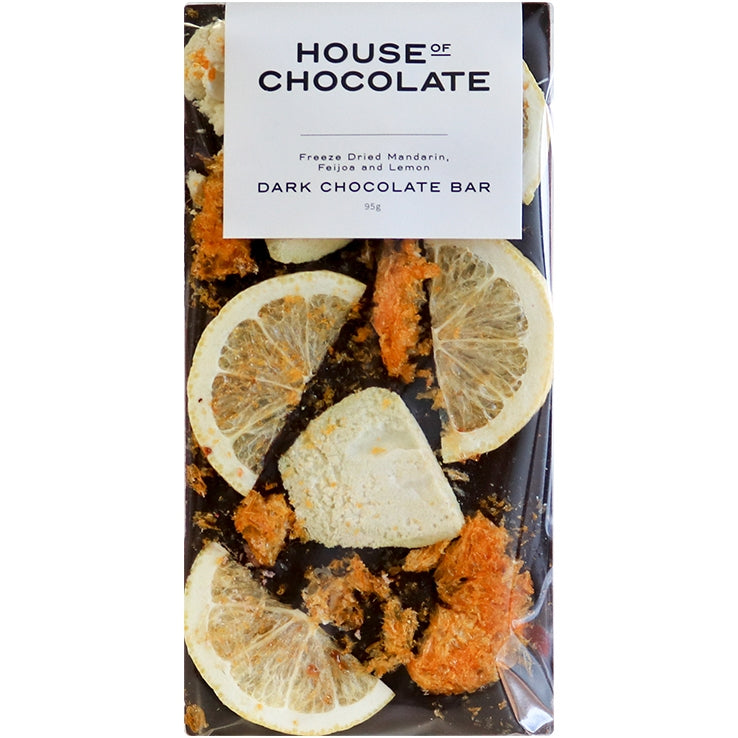 Freeze Dried Mandarin, Feijoa, and Lemon Dark Chocolate Bar