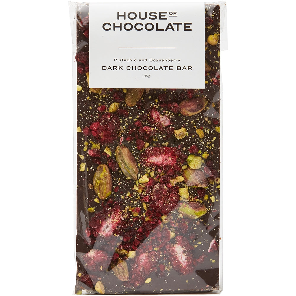 Freeze Dried Boysenberry & Pistachio Dark Chocolate Bar