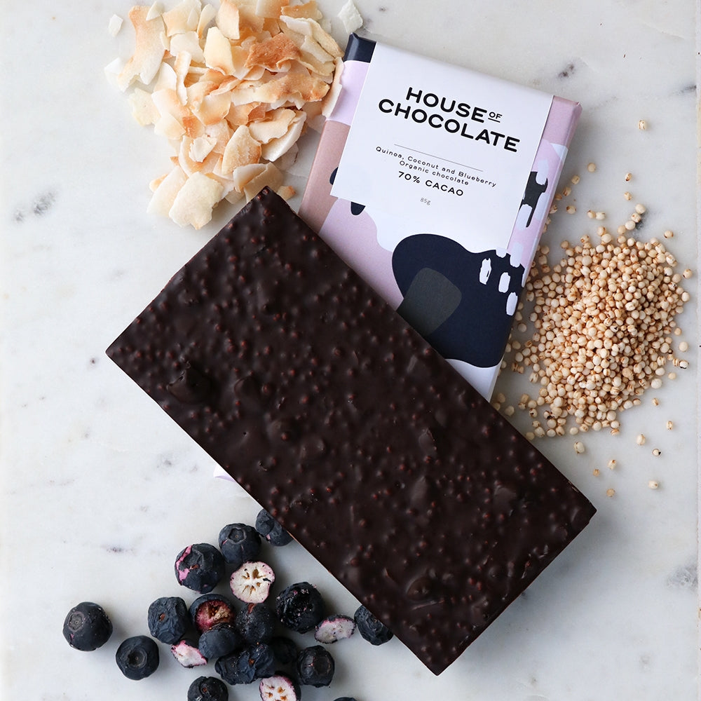 Puffed Quinoa, Toasted Coconut & Freeze Dried Blueberry 70% Cacao Organic Chocolate Bar