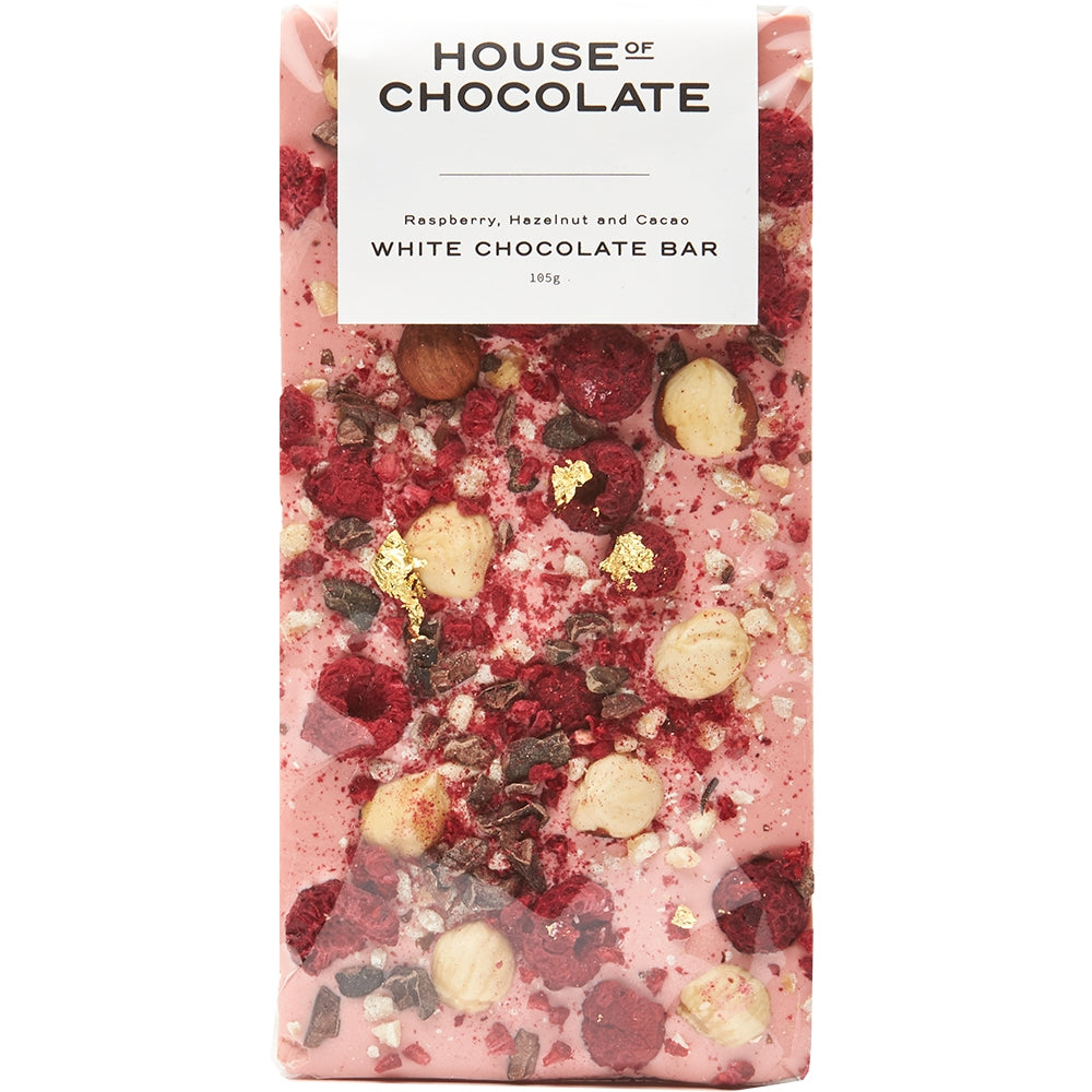 Freeze Dried Raspberry, Hazelnut & Cacao Nib White Chocolate Bar