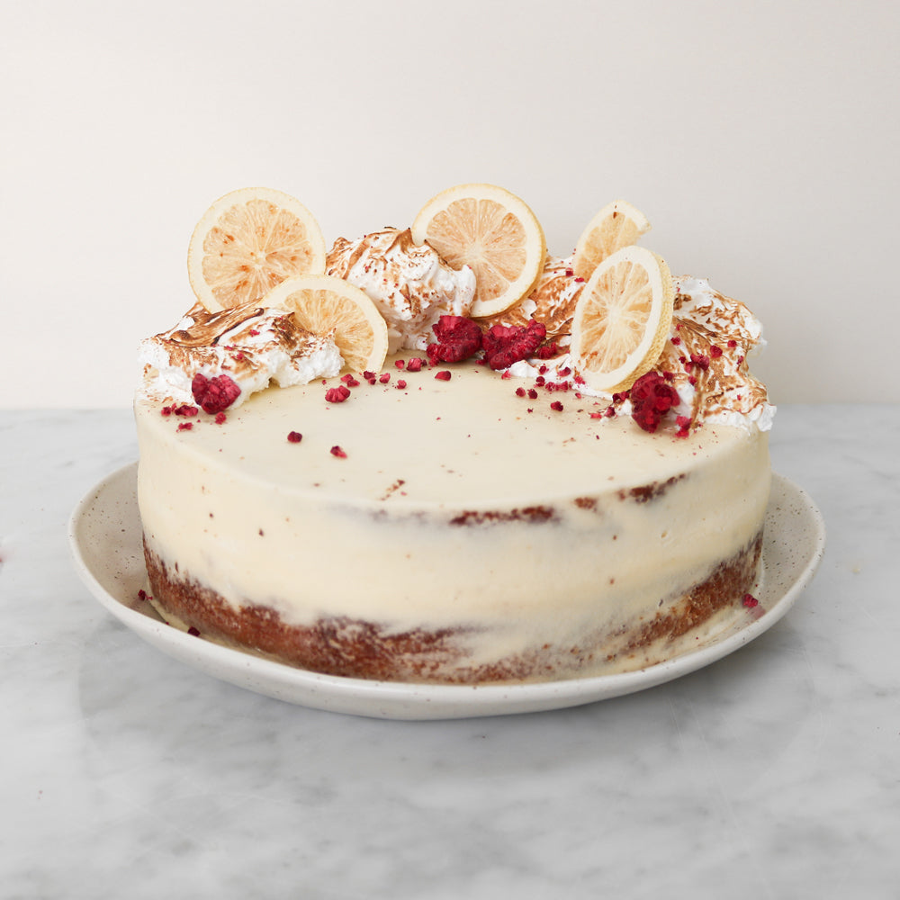 Lemon & White Chocolate Meringue Cake