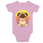 Load image into Gallery viewer, Pug doing yoga (Baby Onesie Romper)