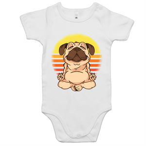 Pug doing yoga (Baby Onesie Romper)