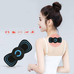 Portable 6 Modes Electric Cervical Spine Mini Massage Patch Vibration Muscle Relaxation Shoulder Neck Massager Rechargeable