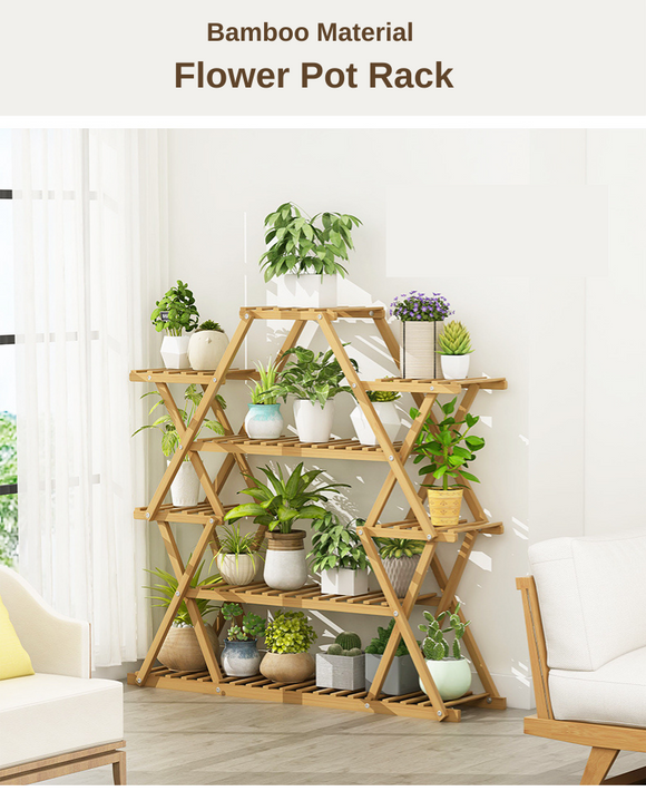 Creative Design Bamboo Material Flower Pot Rack