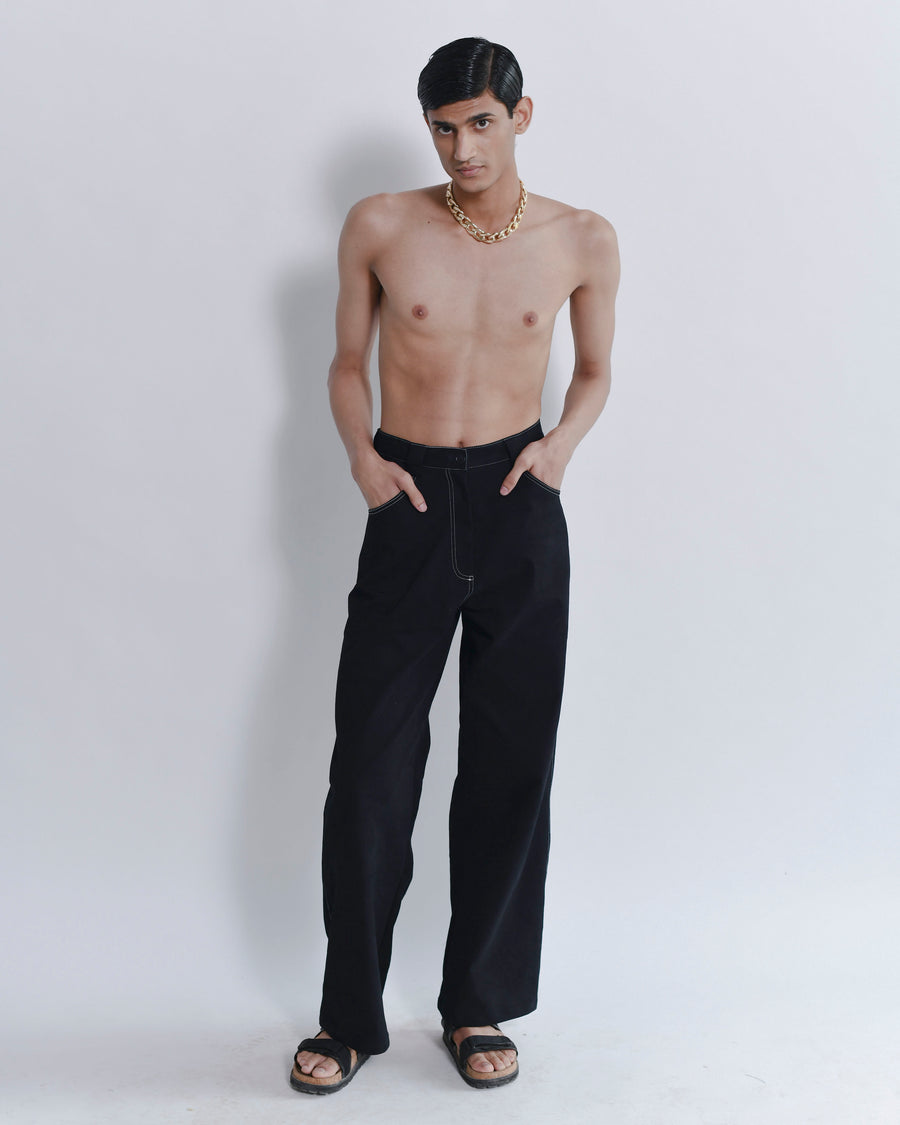 Androgynous Long Denim Trousers