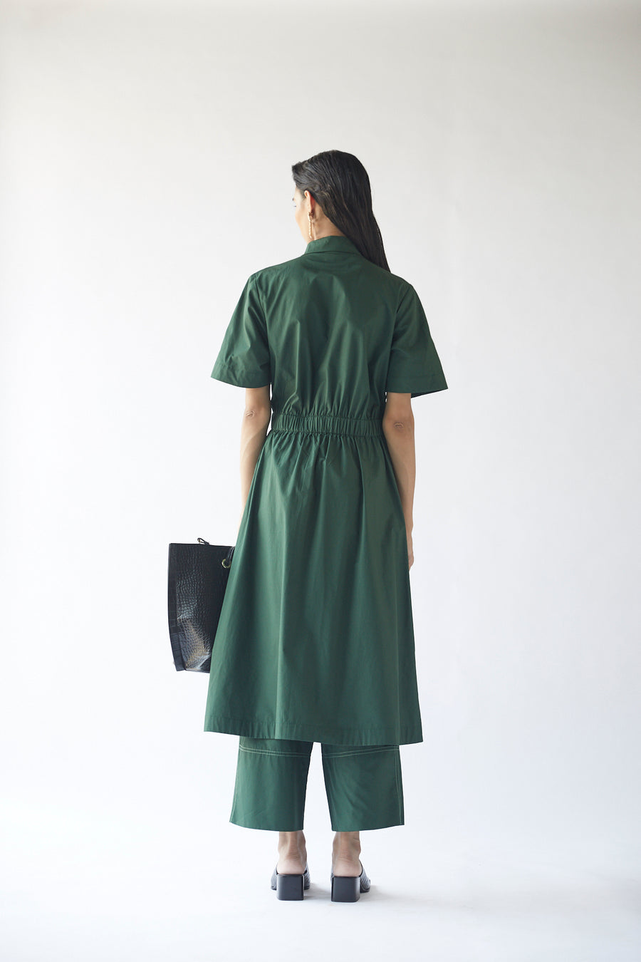 Cross Overlap Shirt Dress