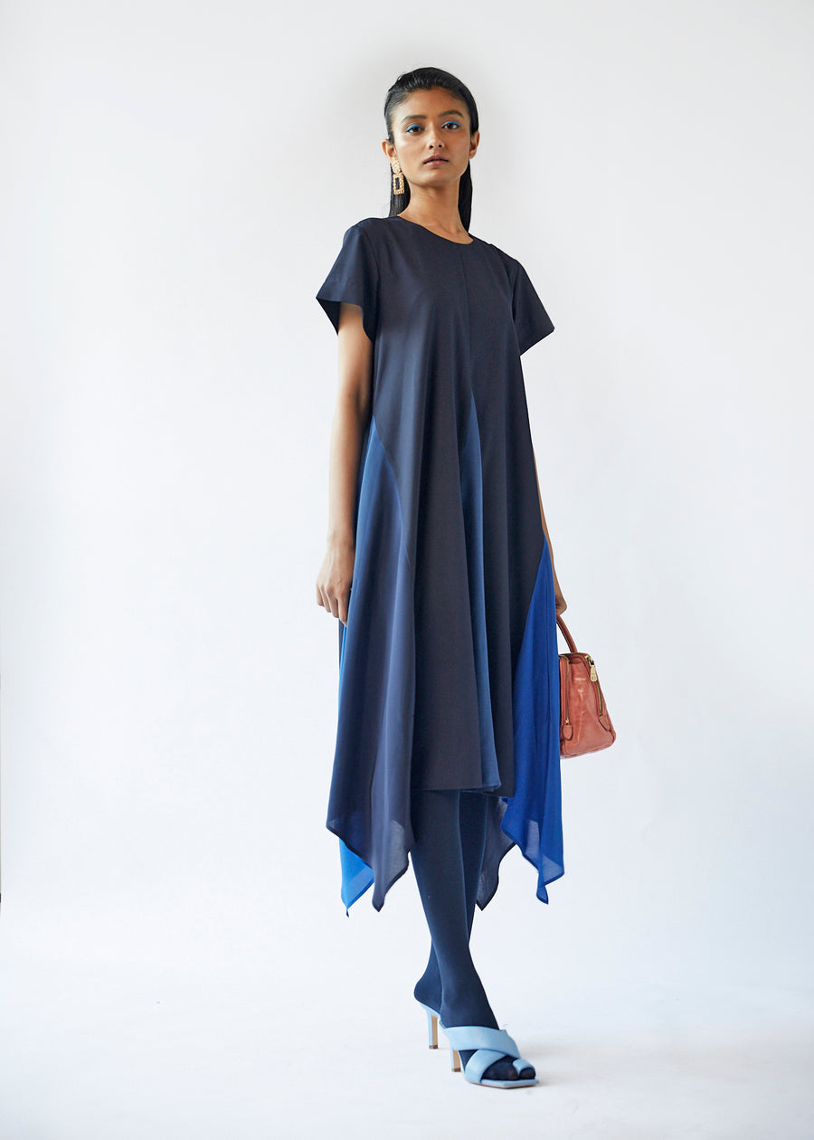 Gradient Godet Dress